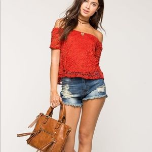 Tops - NWT Adrianna crochet lace off shoulder top blouse